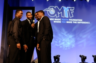 "The five Magic rookies (Doron Lamb, Maurice Harkless, Kyle O'Quinn, Andrew Nicholson and DeQuan Jones) sang ""Happy Birthday"" to Magic Vice Chairman Dan DeVos at the Orlando Magic Youth Foundation's (OMYF) 23rd Annual Black Tie and Tennies Charity Gala on March 23 at Amway Center. The OMYF Gala raised more than $500k for the Central Florida community, with matching funds at .50 on the dollar provided by the McCormick Foundation. Photo taken by Gary Bassing."
