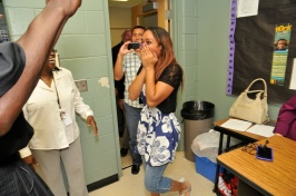 Seminole High School student Dana Liang was surprised in her school by Magic representatives with news of the Seminole State Orlando Magic Youth Foundation Scholarship. Liang was awarded a $6,000 scholarship by the OMYF on May 1. Photo taken by Gary Bassing.
