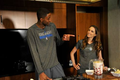Magic forward Maurice Harkless helps Magic Team Nutritionist Tara Gidus prepare recipes with local food for the Summer Cooking Series presented by Fresh for Florida Kids. The series will be featured on the Magic's website, orlandomagic.com starting late June. Photos taken by Gary Bassing.