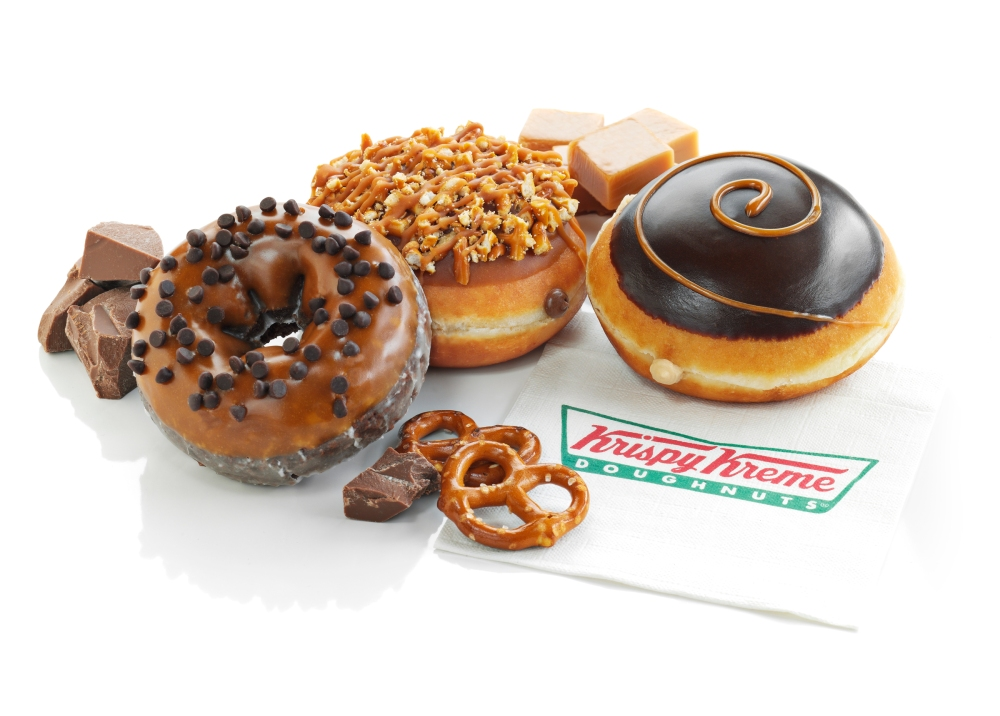 New Caramel Chocolate Cake, Chocolate Caramel Pretzel and Dark Chocolate Caramel Kreme Doughnuts at Krispy Kreme