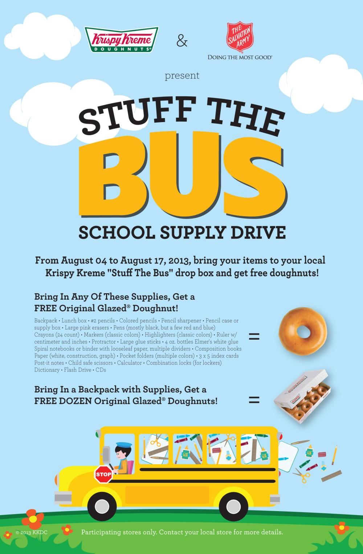 Krispy Kreme Winter Park and Kissimmee Stuff the Bus Flyer