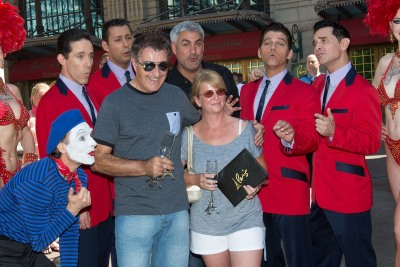 """""""Paris Las Vegas headliners Taylor Hicks and Jersey Boys sing """"You're our 10 millionth guest"""" to the Eiffel Tower Experience's 10 millionth visitor, Martin Layton."""