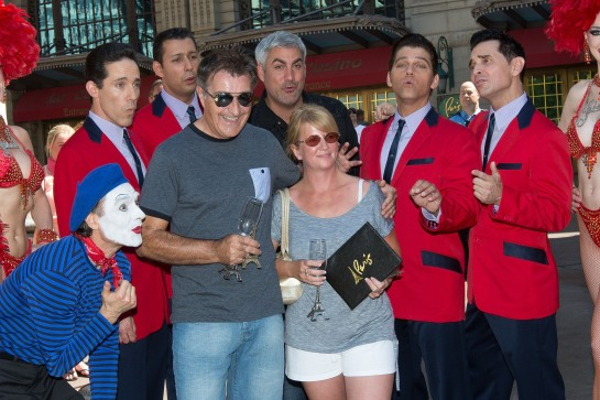 """Paris Las Vegas headliners Taylor Hicks and Jersey Boys sing ""You're our 10 millionth guest"" to the Eiffel Tower Experience's 10 millionth visitor, Martin Layton."
