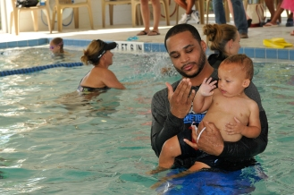 Magic guard Jameer Nelson serves as an assistant swim instructor after presenting The Gift of Swimming a check for $25,000 on Oct. 23. Photos taken by Gary Bassing.