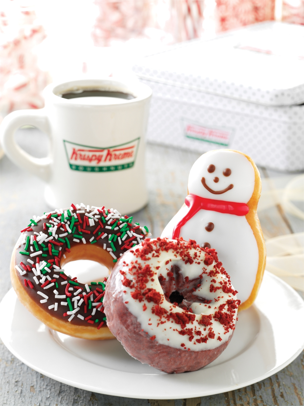 Krispy Kreme Snowman, Sprinkle, and Red Velvet Doughnuts