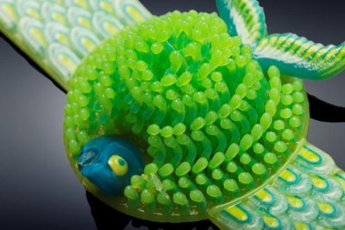 Michaella Janse van Vuuren's Fish in Coral bracelet 3D printed in one print run on the Objet500 Connex3 Color Multi-material 3D Printer
