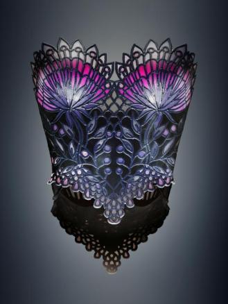 Michaella Janse van Vuuren designed Stained Glass corset combining rigid, flexible, color and transparent materials produced on an Objet500 Connex3 Color Multi-material 3D Printer