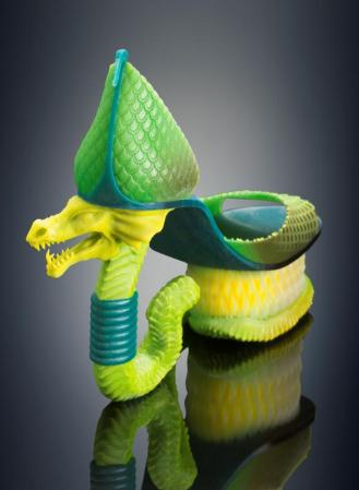 Michaella Janse van Vuuren designed Classic Serpent shoes – 3D printed in a single build; combining rigid and rubber-like materials with vibrant color on the Objet500 Connex3 3D Printer