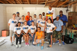 As part of the Orlando Magic's Volunteer Program (MVP) Magic Community Ambassador Bo Outlaw and 20 Magic staff members participated in a Habitat for Humanity Orlando home build in the Pine Hills neighborhood on June 25. The Magic is very active in the Habitat for Humanity program, having sponsored six homes. All photos taken by Gary Bassing.