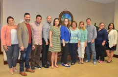 [Left to right] Nadia Vanderhoof, Carlos Carbonell, Ian Suarez, Josh Murdock, Necole Pynn, Laura Kern, Mayor Teresa Jacobs, Bess Auer, David Glass, Jen Vargas and Ann Marie Varga gathered to discuss Orange County's Technology and Social Media Workgroup.