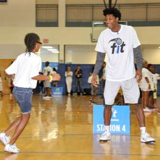 Orlando Magic rookies Aaron Gordon and Elfrid Payton, along with Community Ambassadors Nick Anderson and Bo Outlaw and Orlando Magic staff members, helped tip-off the MAGIC FIT Program with a MAGIC FIT Draft Combine at the RDV Sportsplex on Thursday, July 24. MAGIC FIT is the team's first-ever fitness and nutrition education program for youth. Following the NBA FIT guidelines, the program's goal is to improve the knowledge of healthy food choices and fitness exercises among at-risk children within Orange, Seminole and Osceola counties.