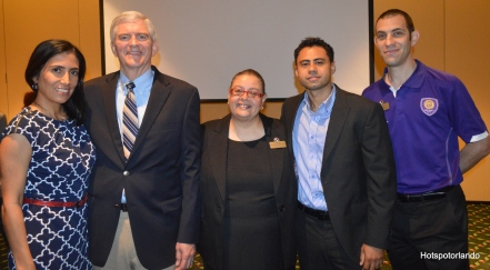Monica Correa-Bright House Networks, Congressman Daniel Webster, CFBACC President Laiz Rodrigues, Brian Ramos-Bright House Networks, Brian Paul-Orlando City Soccer