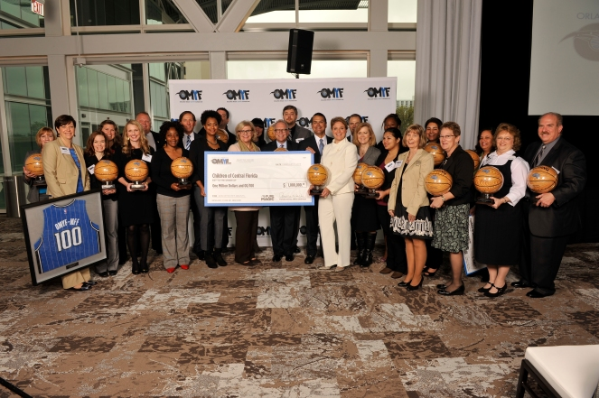On February 5, representatives from 21 nonprofit community organizations in Central Florida were named to the Orlando Magic Youth Fund (OMYF) All-Star Team, receiving grants totaling $1 million from the OMYF, a McCormick Foundation Fund (OMYF-MFF). Photo taken by Gary Bassing.