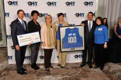 On Feb. 5, the Orlando Magic Youth Fund, a McCormick Foundation Fund, distributed $100k to Harbor House of Central Florida, one of two organizations to receive $100k. Pictured left to right: Magic Chairman Dan DeVos, Robert R. McCormick Foundation representative Lesley Kennedy, Harbor House CEO Carol Wick, Magic VP of Philanthropy and Multicultural Insights/OMYF President Linda Landman Gonzalez, Harbor House Chief Development Officer Michelle Palmer and Magic CEO Alex Martins. Representatives from 21 nonprofit organizations in Central Florida were named to the OMYF All-Star Team, receiving grants totaling $1 million from the OMYF-MFF. Photo taken by Gary Bassing.