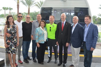 Orange County Mayor Teresa Jacobs joins Nik Wallenda, Gov. Rick Scott and executives from Merlin Entertainments and Unicorp National Developments, Inc. for the opening of I-Drive 360 and the Orlando Eye. Other photos from the event available: