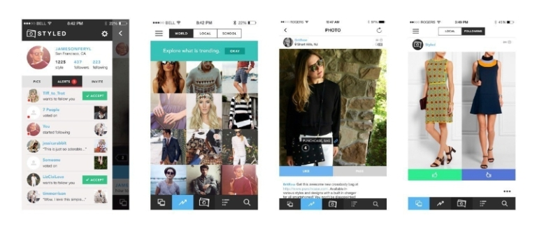 Screenshots of Styled App (PRNewsFoto/Styled)