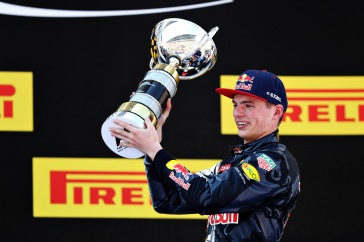 MONTMELO, SPAIN - MAY 15: Max Verstappen of Netherlands and Red Bull Racing celebrates his first win on the podium during the Spanish Formula One Grand Prix at Circuit de Catalunya on May 15, 2016 in Montmelo, Spain. (Photo by Mark Thompson/Getty Images)