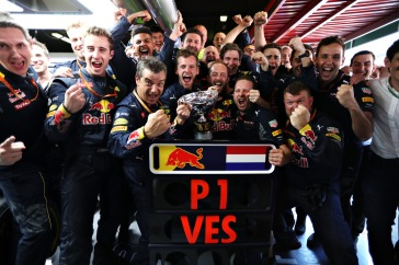 MONTMELO, SPAIN - MAY 15: The Red Bull Racing team celebrate the win of Max Verstappen during the Spanish Formula One Grand Prix at Circuit de Catalunya on May 15, 2016 in Montmelo, Spain. (Photo by Mark Thompson/Getty Images)