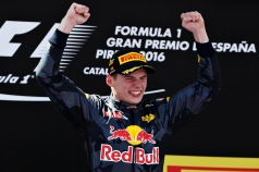 MONTMELO, SPAIN - MAY 15: Max Verstappen of Netherlands and Red Bull Racing celebrates his win on the podium during the Spanish Formula One Grand Prix at Circuit de Catalunya on May 15, 2016 in Montmelo, Spain. (Photo by Mark Thompson/Getty Images)