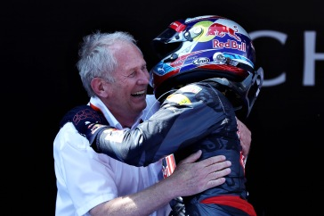 MONTMELO, SPAIN - MAY 15: Max Verstappen of Netherlands and Red Bull Racing is congratulated on his first F1 win by Red Bull Racing Team Consultant Dr Helmut Marko in parc ferme during the Spanish Formula One Grand Prix at Circuit de Catalunya on May 15, 2016 in Montmelo, Spain. (Photo by Mark Thompson/Getty Images)