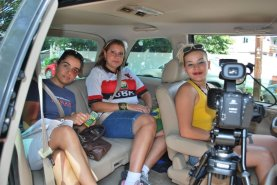 Val, Sheyla e Andreza, atrizes da Oficina de Cinema em Boston, MA